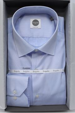 Picture of SHIRT BAGUTTA MAN A050L 02395 CELESTE