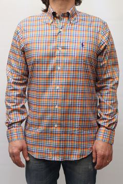 Picture of SHIRT RALPH LAUREN MAN 304IW503 QUADRI ARANCIO