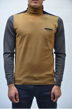 Picture of SWEATER +39 MASQ MAN MA0361 CAMEL BLUE