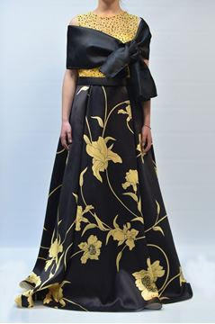 Picture of DRESS BAGATELLE AUWY C80152 NERO GIALLO