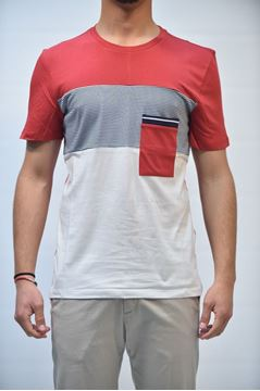 Picture of T-SHIRT MAN +39 MASQ MTA060024 RIGHE ROSSO